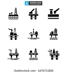 oil platform icon or logo isolated sign symbol vector illustration - Collection of high quality black style vector icons