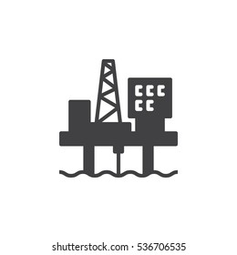Oil platform icon vector, filled flat sign, solid pictogram isolated on white. Symbol, logo illustration