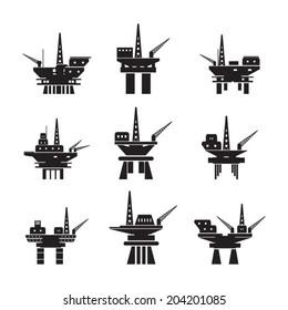 Oil platform icons set