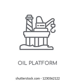 Oil platform linear icon. Modern outline Oil platform logo concept on white background from Industry collection. Suitable for use on web apps, mobile apps and print media.