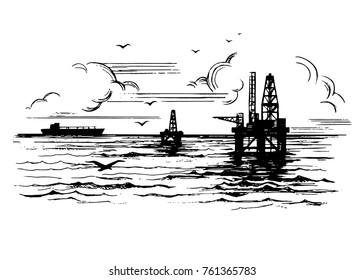 Oil platform on the background of the ocean. Drawing landscape with clouds and seagulls.  Hand drawn sketch illustration
