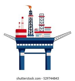 Oil platform at sea icon. Cartoon illustration of oil platform at sea vector icon for web