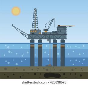 Oil platform in the sea. Vector illustration.