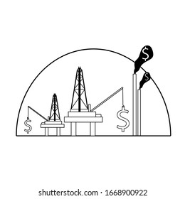 oil platform silhouette and dollar hand drawn