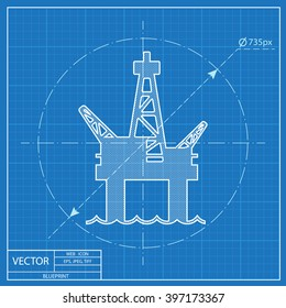 Oil platform vector blueprint icon