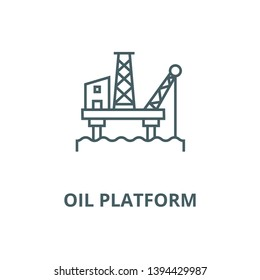 Oil platform vector line icon, linear concept, outline sign, symbol