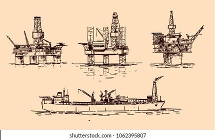 oil platforms sketch