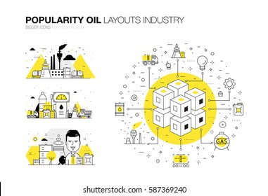 Oil popularity modern layouts global industry in new flat line style. Gas station technology and petroleum systems development. Infographics strategy program. Pictogram for design.