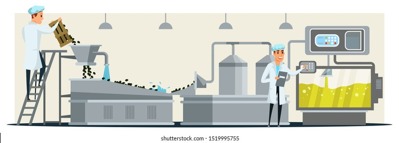 Oil pouring in bottle flat vector illustration. Factory employee in white coat control pouring in bottles manufacturing process cartoon character. Virgin olive oil production, worker check bottles