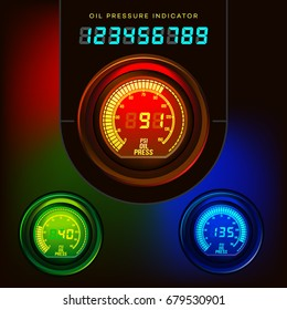 OIL PRESSURE INDICATOR. Digital. Red, green, blue. Gauge. Car. Bike.