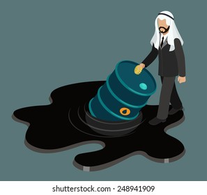 Oil price drop concept flat 3d web isometric infographic vector. Arabic sheikh businessman stepping into black oil petroleum slick and half sunken barrel.