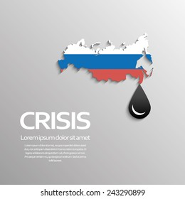 Oil price fall concept illustration with black drop symbol and map of russia in russian flag colors. Eps10 vector illustration.