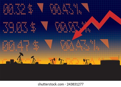 Oil price fall illustration with red down arrow, stock market display numbers ,oil refinery landscape silhouettes