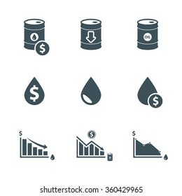oil price icon set. drop in oil prices infographic. isolated on white background. vector illustration