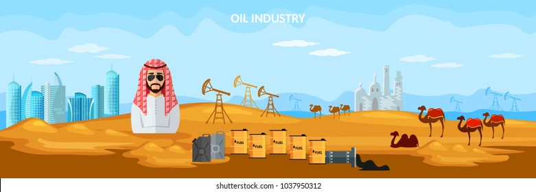 Oil production in Arab countries banner, arab men exploration and production of oil sheiks in desert