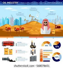 Oil production in Arab countries infographics, arab men exploration and production of oil sheiks in desert