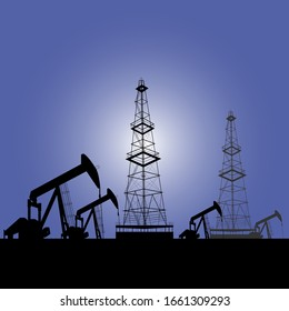 Oil production. Drilling, oil rig. Vector on a gray background.