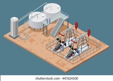 Oil production facilities and equipment isometric poster with platform refinery elements and 2 pumpjacks set vector illustration