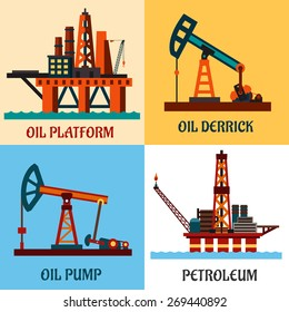 Oil production industry concept showing oil platforms in the ocean and pump jacks with texts Platform, Oil Derrick, Petroleum and Pump. Flat style