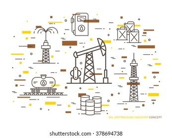 Oil production linear vector illustration with oil derrick, petrolium, fuel, gasoline, barrel, petrol tower. Oil production creative graphic concept with colorful elements.