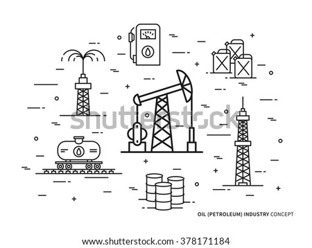 Oil Production Linear Vector Illustration Line Stock Vector Royalty