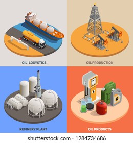 Oil production logistics refinery plant 4 isometric colorful background icons square  petroleum industry concept isolated vector illustration