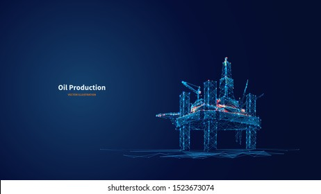 Oil production low poly wireframe banner template. Polygonal naphtha industry, earth mining, mineral resource extraction mesh art illustration. 3D oil refinery, plant equipment with connected dots