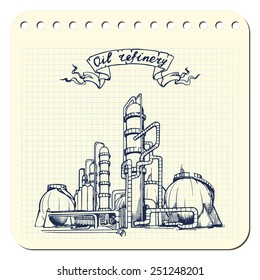 Oil production plant. EPS8 vector illustration in a sketchy style imitating scribbling in the notebook or diary.