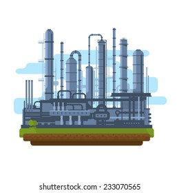 Oil production plant, petrochemical plant, big oil refinery, manufacturing with metallic constructions, isolated