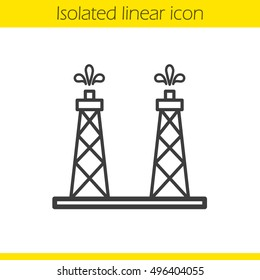 Oil production platforms linear icon. Thin line illustration. Oil tower contour symbol. Vector isolated outline drawing