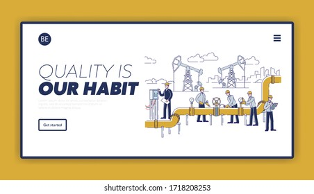 Oil Production Website Landing Page. People Work On Oil Rig Plant. Operators Control Oil And Gas Transportation From Plant By Oil Pipeline. Web Page Cartoon Linear Outline Flat Vector Illustration
