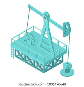 Oil pump extraction derrick. Oil mining industrial machine for petroleum. Isometric vector stock clipart illustration.