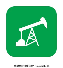 Oil pump flat icon, filled vector sign, colorful pictogram on rounded square button isolated on white. Symbol, logo illustration. Flat design, pixel perfect