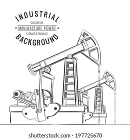 Oil pump isolated over white and text. Vector illustration.