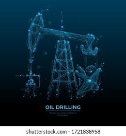 Oil pump jack in dark blue background. Finance, economy, business or petroleum fuel industry concept. Abstract polygonal wireframe with lines and dots. Oil industry equipment