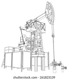 Oil pump jack. Detailed vector illustration isolated on white background. Vector rendering of 3d