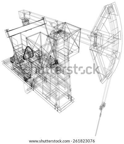 Oil Pump Jack Detailed Vector Illustration Stock Vector Royalty