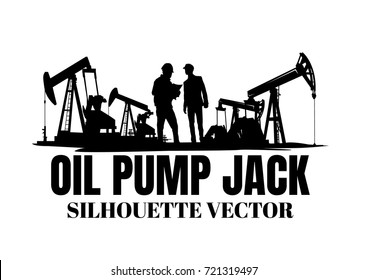 Oil pump jack silhouette isolated on white background,Vector illustration.