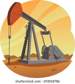 Oil Pump Jack, vector illustration cartoon.