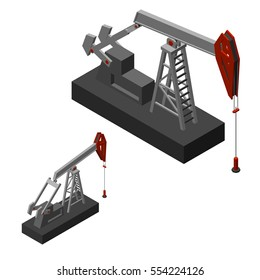 Oil pump jack.Isolated on white background. Vector illustration.Isometric view.
