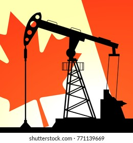 Oil pump on background of flag of Canada. Vector illustration