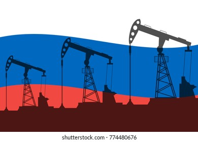Oil pump on background of flag of Russia. Vector illustration