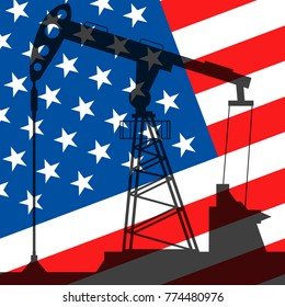 Oil pump on background of flag of USA. Vector illustration