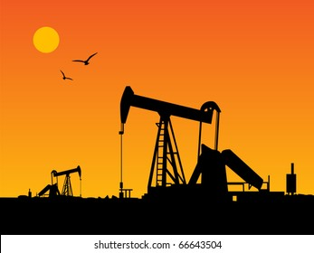 Oil Pump and orange sunset, vector illustration