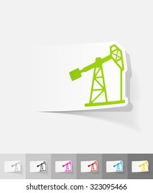 oil pump paper sticker with shadow. Vector illustration