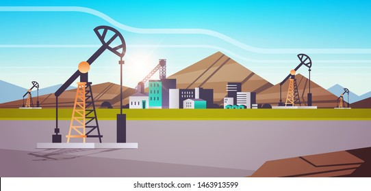 oil pump rig energy industrial zone oil drilling fossil fuels production concept flat mountains sunset background horizontal