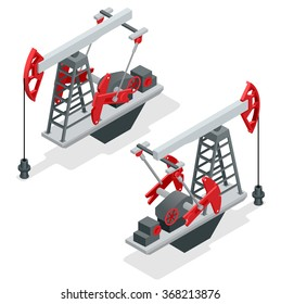 Oil pump, oil rig energy industrial machine for petroleum. Flat 3d isometric vector illustration for infographic.