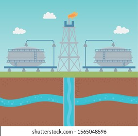oil pump with water tank extracting process fracking vector illustration