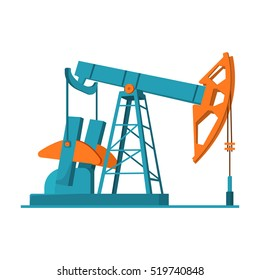 Oil pumpjack icon in cartoon style isolated on white background. Oil industry symbol stock vector illustration.
