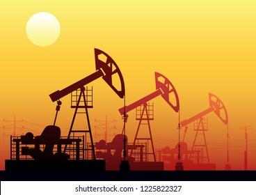 Oil Pumpjacks in Desert, Powerlines, Sands and Sun Industrial Illustration
